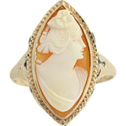 Art Deco Cameo Ring - 10k Yellow Gold Vintage Carved Shell Women's Cocktail