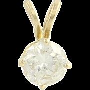 Diamond Solitaire Pendant - 14k Yellow Gold Round Natural Women's .55ct