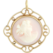 Antique Cameo Pendant - 14k Yellow Gold Carved Pink Shell Estate c.1910-1920's