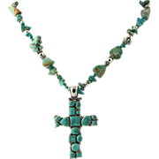 Turquoise Necklace & Cross Pendant - Sterling Silver Women's Rough Reconstituted