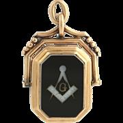 Victorian Masonic Carved Sardonyx Fob Locket - 14k Rose Gold Masons Pendant 12g