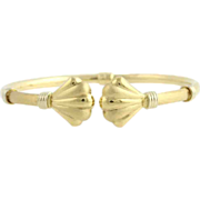 "SOLD 8"" High Karat Shell Bangle Bracelet - 18k Yellow Gold Polished 13.8g Elegant"