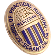 Scranton PA School of Practical Nursing Mercedian Vintage Pin Badge - 10k Gold