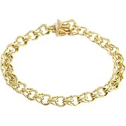 "SOLD 7.5"" 6.7mm Starter Charm Bracelet - Solid 14k Yellow Gold Polished 15.1g"
