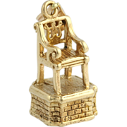 3D Thomasville Chair City Charm Pendant - 14k Yellow Gold Detailed The Big Chair