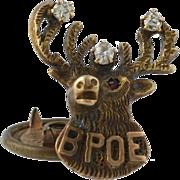 Vintage Elks BPOE Lapel Pin - 14k Yellow Gold Diamonds & Garnet Collectible