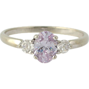 SOLD Pink CZ Cocktail Ring - 10k White Gold Women's Fashion Estate Size 7 DEW .75ct