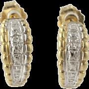Curved Half-Hoop Earrings - 10k Yellow White Gold Diamond Pierced Women's