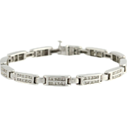 "SOLD 3.60ctw Princess Cut Diamond 7"" Bracelet - 18k Solid White Gold Tennis 21.5g"