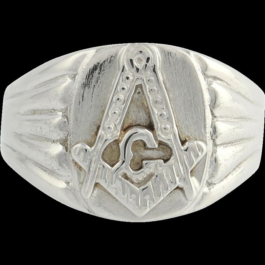 masonic ring master 14k white gold solid back band