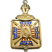 SOLD Ancient Order United Workers - AOUW Vintage Union Cross Antique Locket Fob