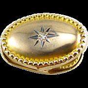 SOLD Diamond Lapel Clip - 10k Yellow Gold Vintage Estate Beaded Frame Starburst