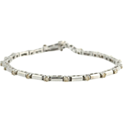 "Link Bracelet 7 1/8"" 1.00ctw Genuine SI2-I1 Champagne Diamond - 14k White Gold"