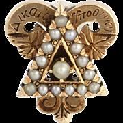 1911 Vintage Delta Upsilon Fraternity Pin - Genuine 14k Yellow Gold Pearl Badge