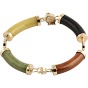 "6.5"" Asian Dyed Jade Women's Bracelet - 14k Yellow Gold Links 25.5g Multi Color"