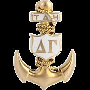 Vintage Rare Delta Gamma Badge Pin - 14k Yellow Gold Anchor Sorority Early Auld