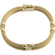 "SOLD Double Chain Bracelet 6.25"" 8.9mm Womens - 14k Yellow Gold Italy Polished Matte"