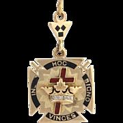 Vintage Gold York Rite Fob - Genuine 14k Yellow Gold Diamond Knights Templar Pendant