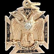 Masonic Fob Vintage Scottish York Rite Shriners - 14k Gold Diamonds Garnets
