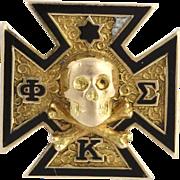 Phi Kappa Sigma Badge - 14k Yellow Gold Polished Estate Fraternity Pin Enamel