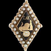 Sigma Alpha Epsilon Fraternity Pin - 14k Yellow Gold Genuine Pearls Vintage