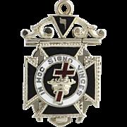 Vintage Masonic Fob Tri-Fold - 18k Solid White Gold Scottish York Rite Masons