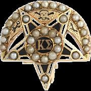 Vintage 1911 Kappa Sigma Badge Pin - 14k Yellow Gold Seed Pearls Fraternity Pin