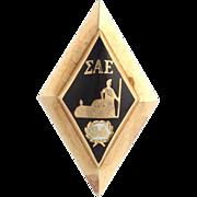 Sigma Alpha Epsilon Vintage Badge Pin - 14k Yellow Gold Fraternity Pollock