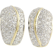 Cubic Zirconia J-Hook Earrings - 14k Yellow White Gold CZ Sparkle Two Toned