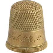 SOLD Vintage Thimble - 10k Yellow Gold Stamped c. 1919 Sewing Collectible Estate Nice