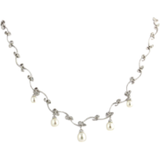 "Floral Akoya Pearl & Diamond Necklace 17.25"" - 14k White Gold Natural Estate"
