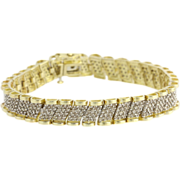 "4.75ctw Diamond Bracelet 7"" - 10k Yellow & White Gold Two Tone Natural Estate"