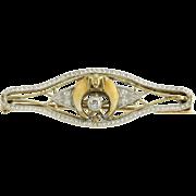 Art Deco Shriners Brooch Genuine .05ct Diamond - 14k Yellow Gold & Platinum Nice