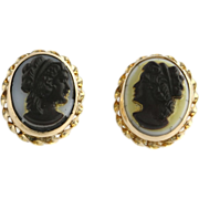 Faux Cameo Stud Earrings - 14k Yellow Gold Silhouette Estate Butterfly Closure