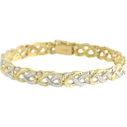 "Two Toned Braided Link Bracelet 7.5"" - 10k Yellow & White Gold Polished Estate"