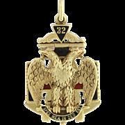 SOLD Vintage Tri-Fold Scottish Rite Masonic Fob Pendant - 14k Yellow Gold Blue Lodge