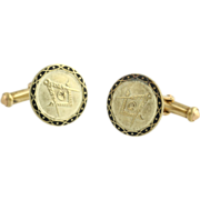 SOLD Masonic Blue Lodge Cufflinks - 14k Yellow Gold Round Men's Estate Vintage