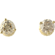 Diamond Stud Earrings - 14k Yellow Gold Classic Pierced Genuine 1.00ctw
