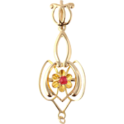 Art Deco Drop Pendant - 10k Yellow Gold Synthetic Ruby Glass 1930s Jewelry