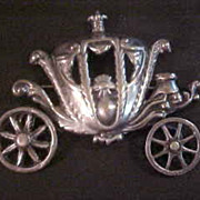 Vintage Lang Sterling Silver Coach Carriage Brooch