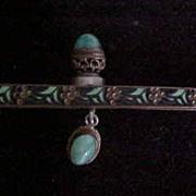 Enamel Purse Frame with Jade-like Stone Cabochons