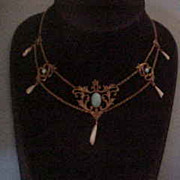 Glorious Victorian Festoon Turquoise and Tooth Pearl Necklace