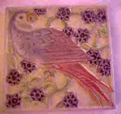 Early Rookwood Parrot Tile Trivet 1927