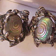 Vintage Cyvra Sterling Silver & Abalone Screw Back Earrings