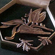 1940's Ming's Hawaii Sterling Silver Heliconia Bird of Paradise Set