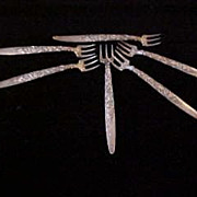 6 Early Gorham Sterling Silver Cocktail Forks with Repousse Shell Design