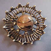 David-Andersen Norway Sterling Silver Brooch with Agate