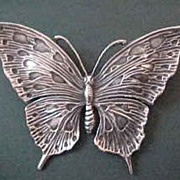Large Unsigned Cini Sterling Silver Butterfly Brooch Pin