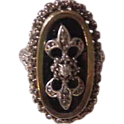 Incredible  Antique 18K Gold Russian Ring with Diamonds and Onyx