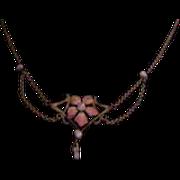 Lovely Art Nouveau Gold-Filled Festoon Necklace with Enamel
